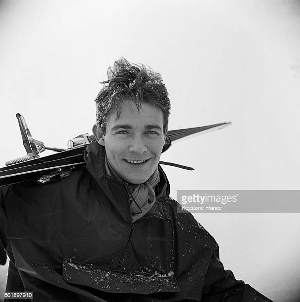 Actor Jacques Charrier With A Pair Of Skis On Shoulder In Megève Ski Resort France on January 21 1963