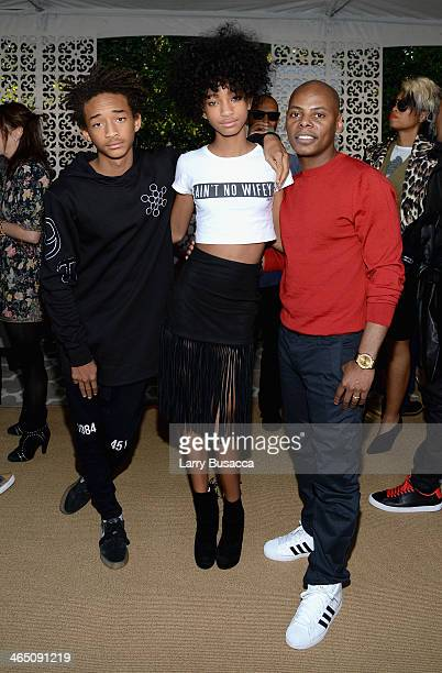 Actor Jaden Smith actress Willow Smith and Tyran 'Tata' Smith attend the Roc Nation PreGRAMMY Brunch Presented by MAC Viva Glam at Private Residence...