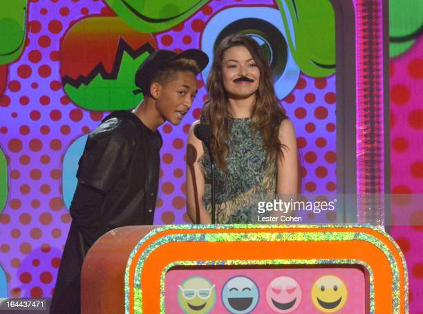 Actor Jaden Smith and actress Miranda Cosgrove perform during Nickelodeon's 26th Annual Kids' Choice Awards at USC Galen Center on March 23 2013 in...