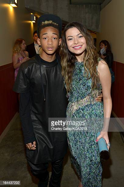 Actor Jaden Smith and actress Miranda Cosgrove seen backstage at Nickelodeon's 26th Annual Kids' Choice Awards at USC Galen Center on March 23 2013...