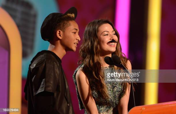 Actor Jaden Smith and actress/singer Selena Gomez perform during Nickelodeon's 26th Annual Kids' Choice Awards at USC Galen Center on March 23 2013...