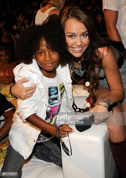 LOS ANGELES CA AUGUST 03 Actor Jaden Smith and host Miley Cyrus during the 2008 Teen Choice Awards at Gibson Amphitheater on August 3 2008 in Los...