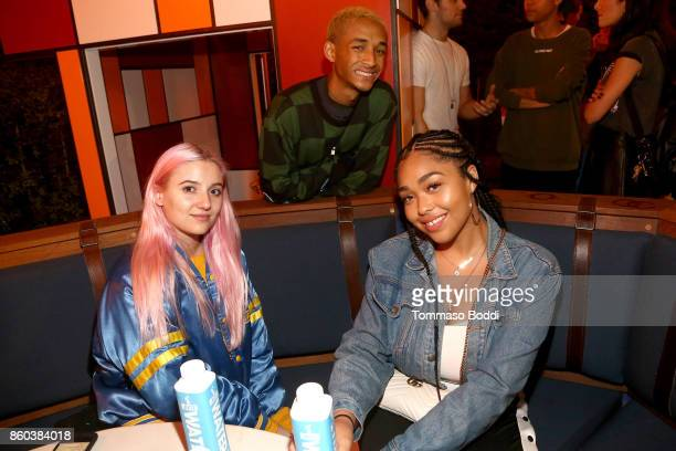 Actor Jaden Smith and Jordyn Woods attend the Umami Burger x Jaden Smith Artist Series Launch Event at The Grove on October 11 2017 in Los Angeles...