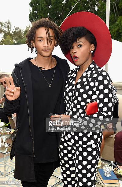Actor Jaden Smith and recording artist Janelle Monae attend Roc Nation and Three Six Zero PreGRAMMY Brunch 2015 at Private Residence on February 7...