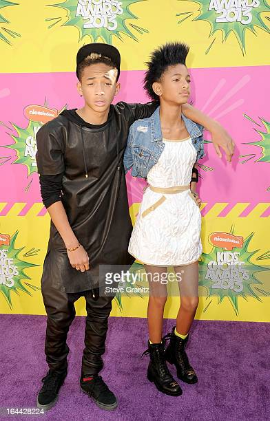 Actor Jaden Smith and singer Willow Smith arrive at Nickelodeon's 26th Annual Kids' Choice Awards at USC Galen Center on March 23 2013 in Los Angeles...