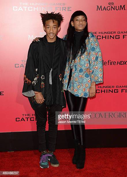 Actor Jaden Smith and singer Willow Smith arrive at the premiere of Lionsgate's The Hunger Games Catching Fire at Nokia Theatre LA Live on November...