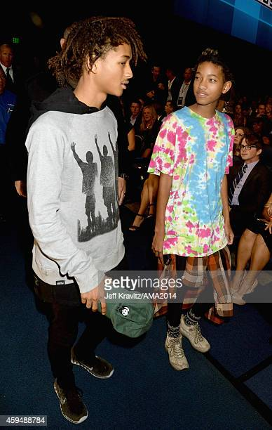 Actor Jaden Smith and singer Willow Smith attend the 2014 American Music Awards at Nokia Theatre LA Live on November 23 2014 in Los Angeles California