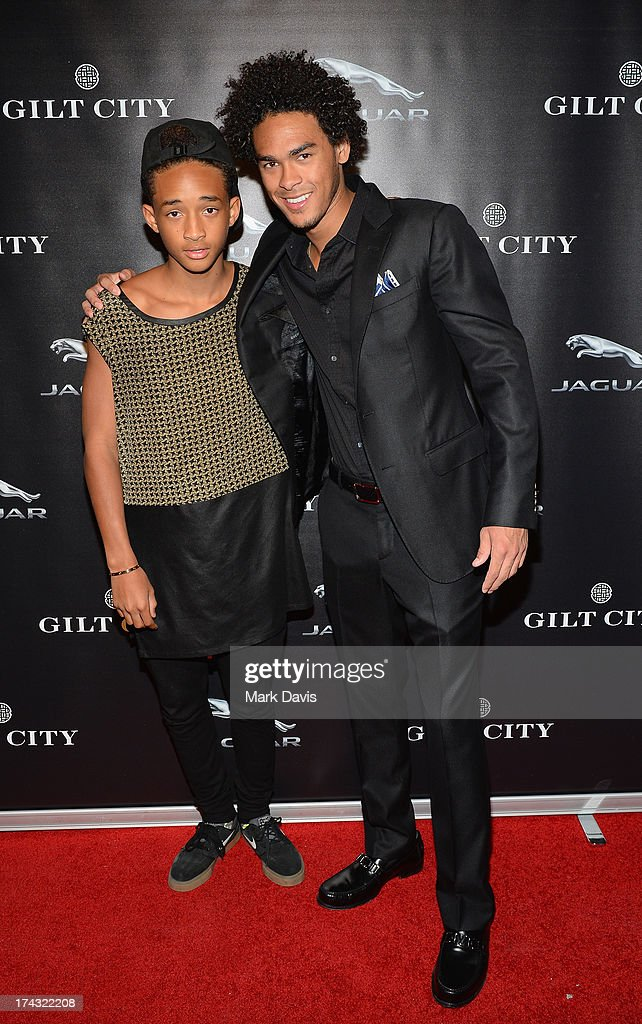 Actor Jaden Smith (L) and Trey Smith pose at the 'Jaguar and Gilt celebrate #MyTurnToJag' held at Siren Studios on July 23, 2013 in Hollywood, California.