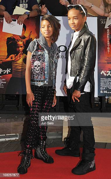 Actor Jaden Smith and Willow Smith attend The Karate Kid movie premier at Roppongi Hills Arena on August 5 2010 in Tokyo Japan The film will open in...