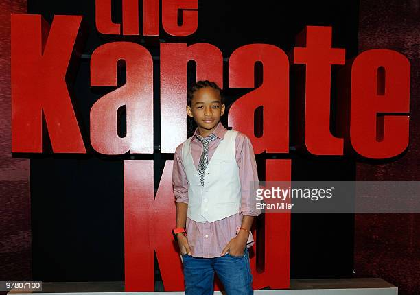 Actor Jaden Smith appears after accepting the Breakthrough Male Star of the Year Award before a screening of his upcoming movie The Karate Kid at the...