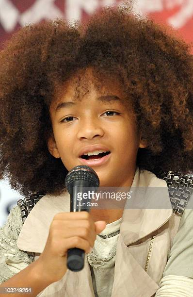 Actor Jaden Smith attends a The Karate Kid press conference at The Ritz Carlton Tokyo on August 5 2010 in Tokyo Japan The film will open in Japan on...