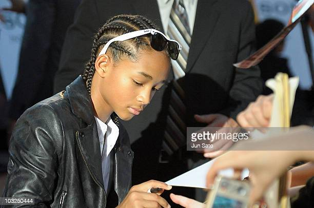 Actor Jaden Smith attends The Karate Kid movie premier at Roppongi Hills Arena on August 5 2010 in Tokyo Japan The film will open in Japan on August...
