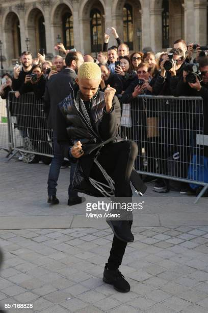 Actor Jaden Smith attends the Louis Vuitton show as part of the Paris Fashion Week Womenswear Spring/Summer 2018 on October 3 2017 in Paris France