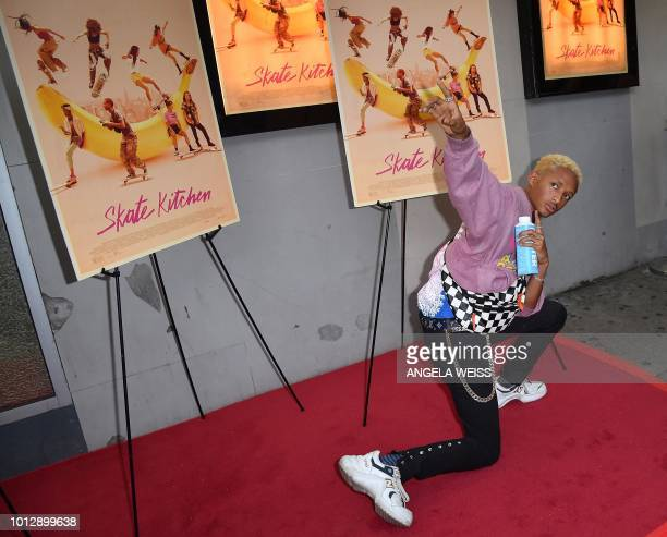 US actor Jaden Smith attends the New York premiere of 'Skate Kitchen' at IFC Center on August 7 2018 in New York City