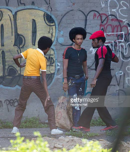 """Actor Jaden Smith is seen on the set of """"The Get Down"""" in Brooklyn on July 17, 2015 in New York City."""