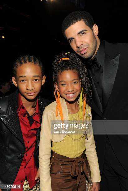 Actor Jaden Smith singer Willow Smith and rapper Drake attend The 53rd Annual GRAMMY Awards held at Staples Center on February 13 2011 in Los Angeles...