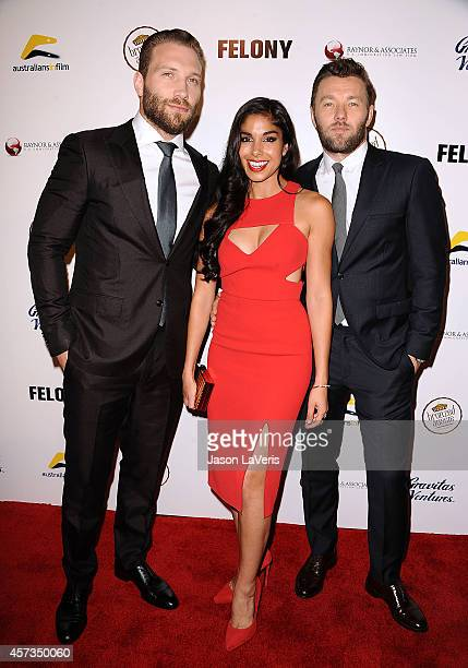 Actor Jai Courtney actress Sarah Roberts and actor Joel Edgerton attend the premiere of Felony at Harmony Gold Theatre on October 16 2014 in Los...