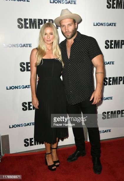 """Actor Jai Courtney and Mecki Dent attend a Special Screening Of Lionsgate's """"Semper Fi"""" at ArcLight Hollywood on September 24, 2019 in Hollywood,..."""