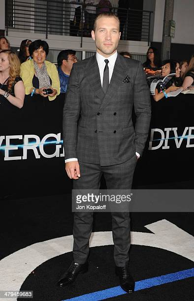 """Actor Jai Courtney arrives at the Los Angeles Premiere """"Divergent"""" at Regency Bruin Theatre on March 18, 2014 in Los Angeles, California."""
