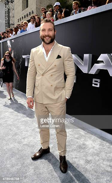 """Actor Jai Courtney attends the premiere of Paramount Pictures' """"Terminator Genisys"""" at Dolby Theatre on June 28, 2015 in Hollywood, California."""