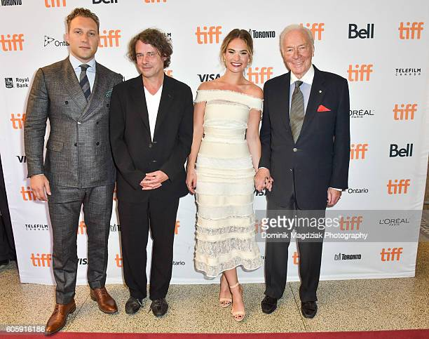 Actor Jai Courtney, director David Leveaux, actress Lily James and actor Christopher Plummber attend the 'The Exception' premiere during the 2016...