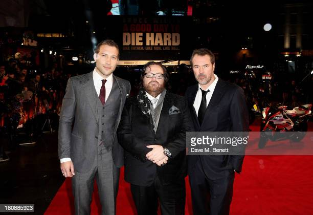 Actor Jai Courtney director John Moore and actor Sebastian Koch attend the UK Premiere of 'A Good Day To Die Hard' at Empire Leicester Square on...