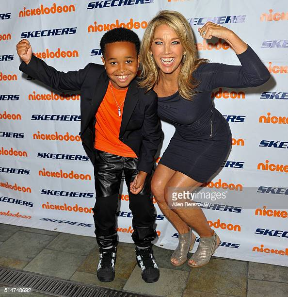 Actor Jailen Bates and fitness guru Denise Austin attend the 7th Annual SKECHERS Pier to Pier Walk Check Presentation at Shade Hotel on March 10 2016...