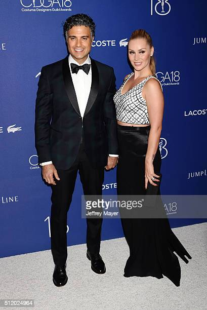 Actor Jaime Camil and Heidi Balvanera attend the 18th Costume Designers Guild Awards at The Beverly Hilton Hotel on February 23 2016 in Beverly Hills...