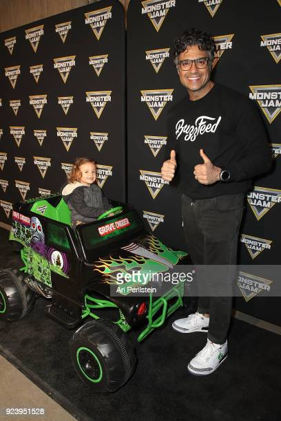Actor Jaime Camil and his daughter Elena arrive at Monster Jam Celebrity Event at Angel Stadium on February 24 2018 in Anaheim California