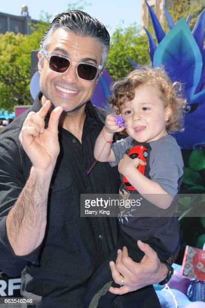Actor Jaime Camil and son Jaime Camil III attend the premiere of Sony Pictures' 'Smurfs The Lost Village' at ArcLight Cinemas on April 1 2017 in...