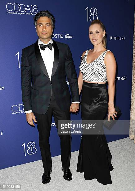 Actor Jaime Camil and wife Heidi Balvanera attend the 18th Costume Designers Guild Awards at The Beverly Hilton Hotel on February 23 2016 in Beverly...