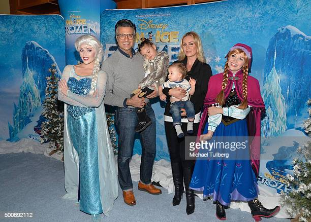 Actor Jaime Camil daughter Elena Camil son Jaime Camil III and wife Heidi Balvanera attend the premiere of Disney On Ice's Frozen at Staples Center...
