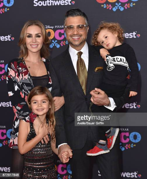 Actor Jaime Camil Heidi Balvanera Elena Camil and Jamie III Camil arrive at the premiere of Disney Pixar's 'Coco' at El Capitan Theatre on November 8...