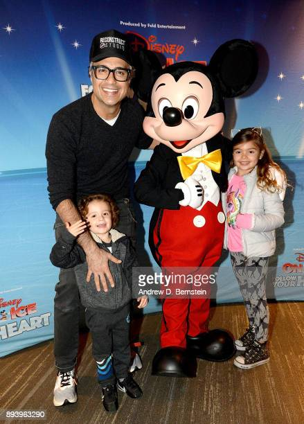 Actor Jaime Camil Jaime Camil III Mickey Mouse and Elena Camil attend Disney On Ice Follow Your Heart at Staples Center on December 16 2017 in Los...