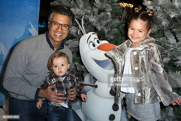 Actor Jaime Camil Jaime III and Elena attend Disney On Ice Presents Frozen Los Angeles Premiere at Staples Center on December 10 2015 in Los Angeles...