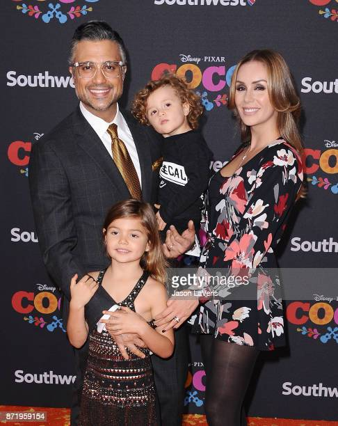 Actor Jaime Camil wife Heidi Balvanera and children Elena Camil and Jaime Camil attend the premiere of Coco at El Capitan Theatre on November 8 2017...