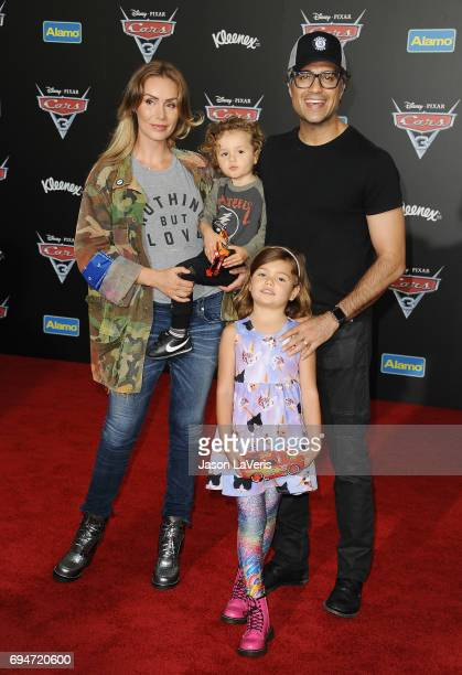 Actor Jaime Camil wife Heidi Balvanera and children Jaime Camil and Elena Camil attend the premiere of Cars 3 at Anaheim Convention Center on June 10...