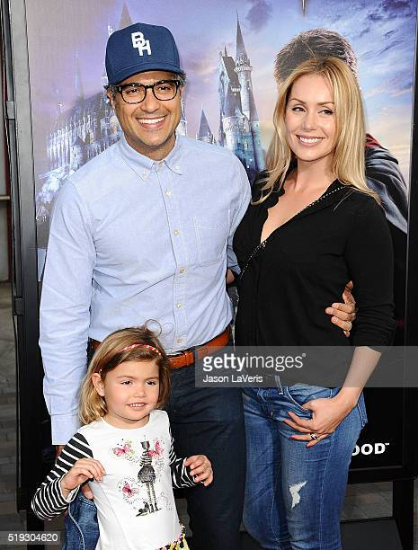 Actor Jaime Camil wife Heidi Balvanera and daughter Elena Camil attend the opening of The Wizarding World of Harry Potter at Universal Studios...