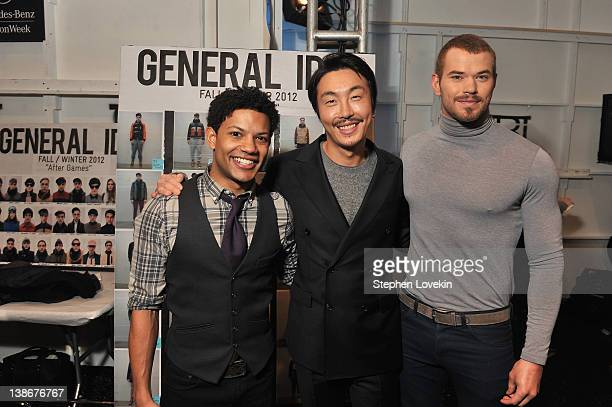 Actor Jaime Cepero Designer Bumsuk Choi and actor Kellan Lutz backstage at the General Idea Fall 2012 fashion show during MercedesBenz Fashion Week...