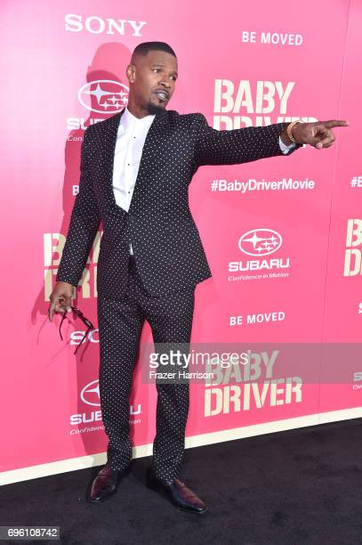 Actor Jaime Foxx arrives at the Premiere of Sony Pictures' 'Baby Driver' at Ace Hotel on June 14 2017 in Los Angeles California