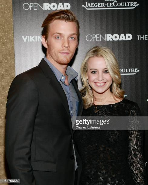 Actor Jake Abel and Allie Woods attend The Cinema Society JaegerLeCoultre Host A Screening Of Open Road Films' 'The Host' at the Tribeca Grand Hotel...