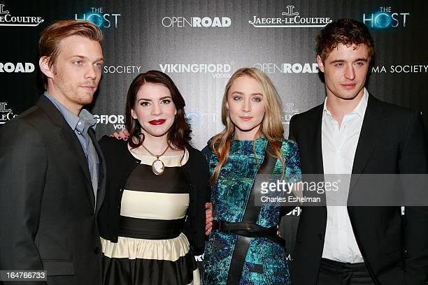 Actor Jake Abel author Stephenie Meyer actors Saoirse Ronan and Max Irons attend The Cinema Society JaegerLeCoultre Host A Screening Of Open Road...