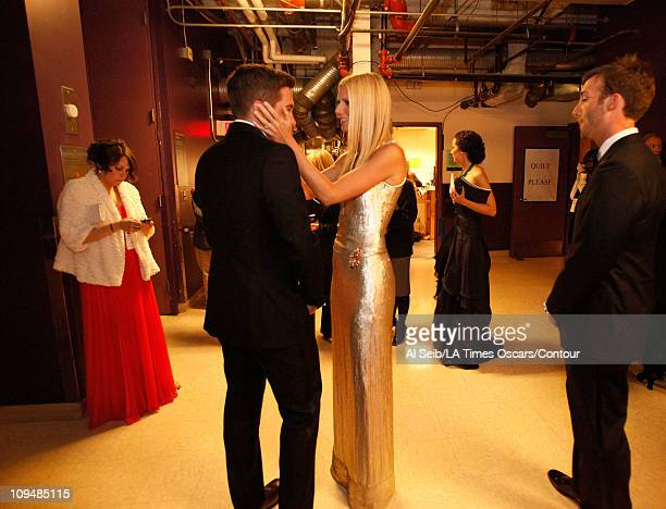 Actor Jake Gyllenhaal and actress Gwyneth Paltrow backstage at the 83rd Annual Academy Awards held at the Kodak Theatre on February 27 2011 in...