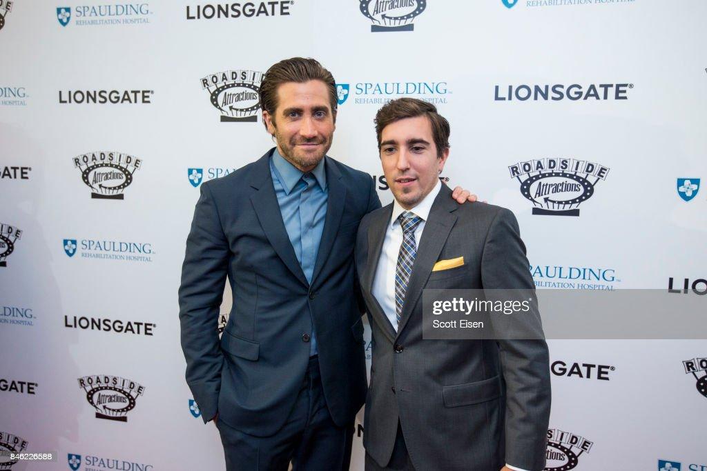 Actor Jake Gyllenhaal and Boston Marathon bombing survivor Jeff Bauman at the Boston Premiere of STRONGER at Spaulding Rehab Center on September 12, 2017 in Charlestown, Massachusetts.