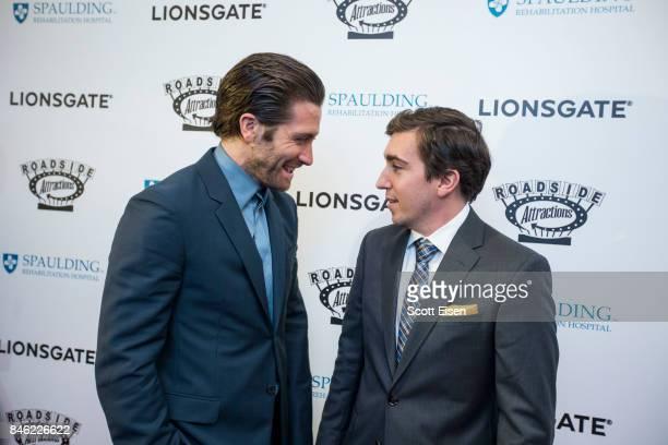 Actor Jake Gyllenhaal and Boston Marathon bombing survivor Jeff Bauman at the Boston Premiere of STRONGER at Spaulding Rehab Center on September 12,...
