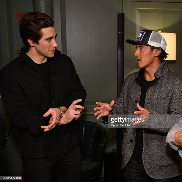 Actor Jake Gyllenhaal and Free Solo Director Producer and Cinematographer Jimmy Chin attend a special screening of National Geographic Films Free...
