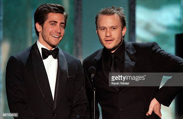 Actor Jake Gyllenhaal and Heath Ledger speak onstage during the 12th Annual Screen Actors Guild Awards held at the Shrine Auditorium on January 29,...