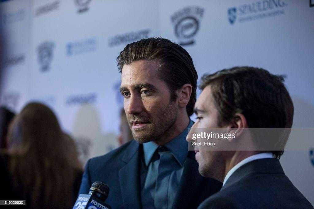 Actor Jake Gyllenhaal and Jeff Bauman at the Boston Premiere of STRONGER at Spaulding Rehab Center on September 12, 2017 in Charlestown, Massachusetts.
