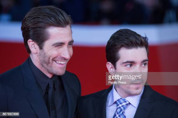 Actor Jake Gyllenhaal and Jeff Bauman during the red carpet of the movie Stronger with US actor Jake Gyllenhaal during the third day of the Rome Film...