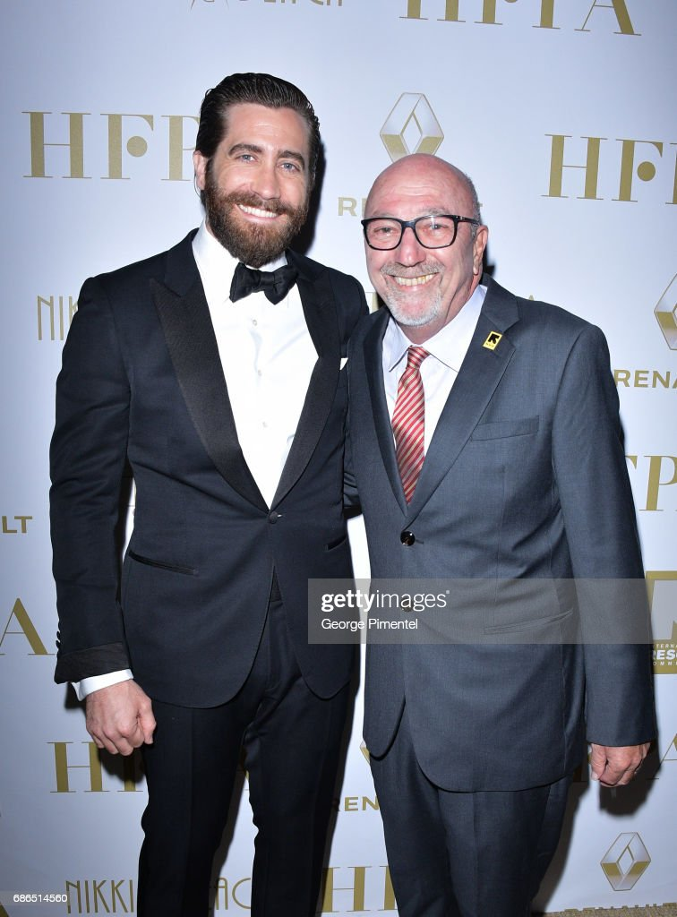 Actor Jake Gyllenhaal and Lorenzo Soria attend the Hollywood Foreign Press Association's 2017 Cannes Film Festival Event in honour of the International Rescue Committee during the 70th Annual Cannes Film Festival on May 21, 2017 in Cannes, France.